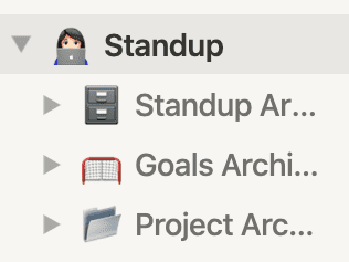 "Notion screenshot of sidebar showing archive pages nested under main ""standup"" page"