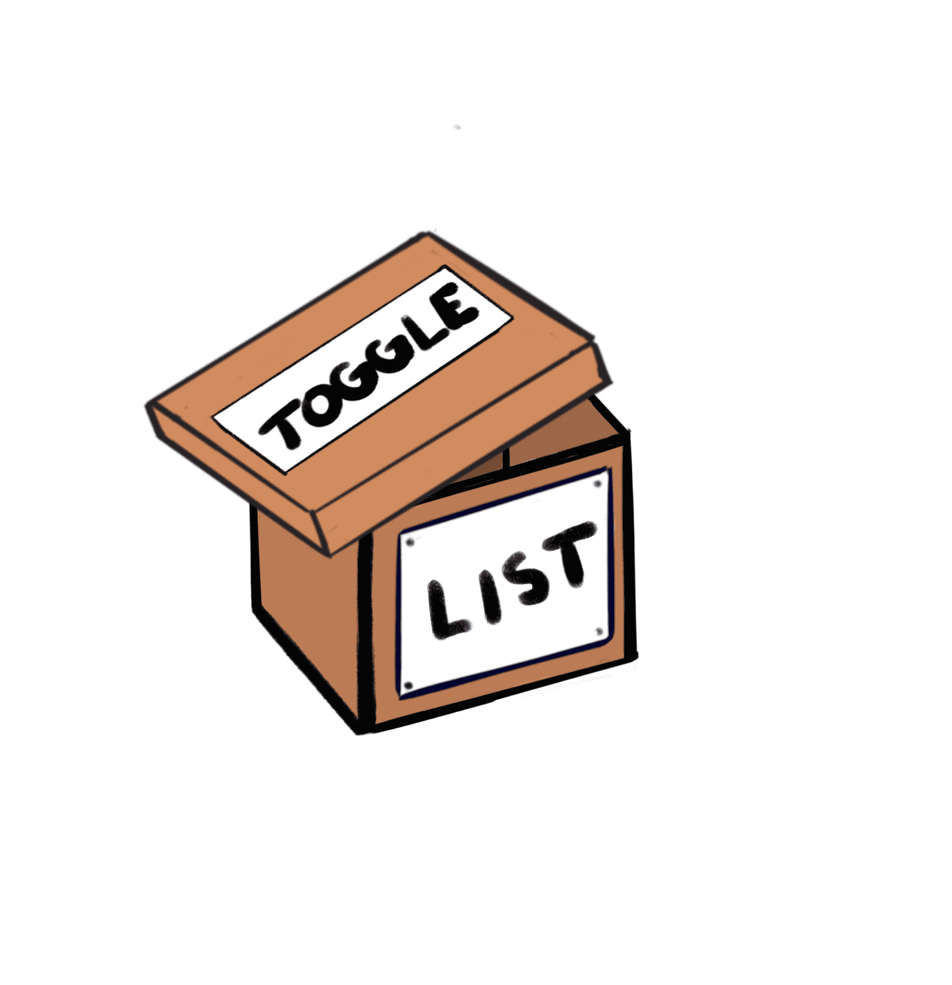 "cardboard box labeled ""list"" and lid labeled ""toggle"""
