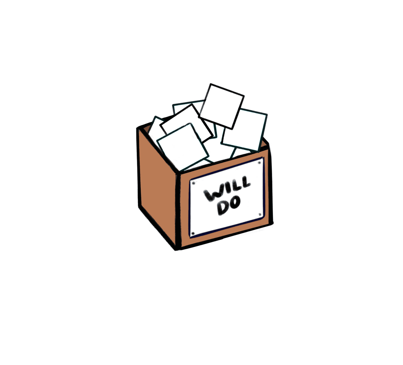 "box labeled ""will do"" filled with white squares, suggesting empty checkboxes"