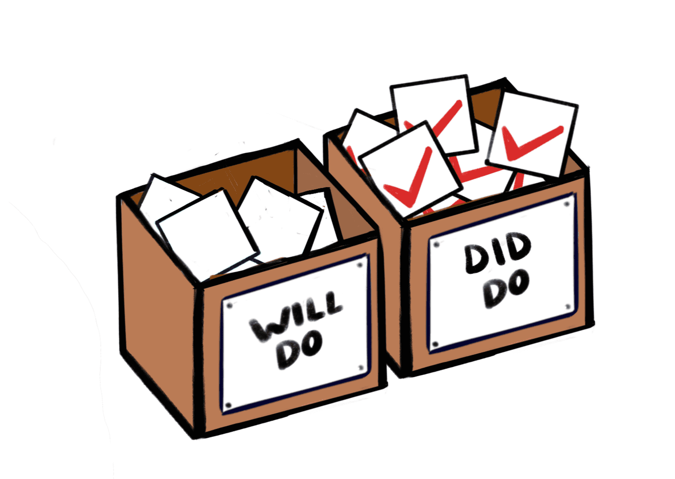"""will do"" cardboard box has fewer items, ""did do"" box is full of check marks"