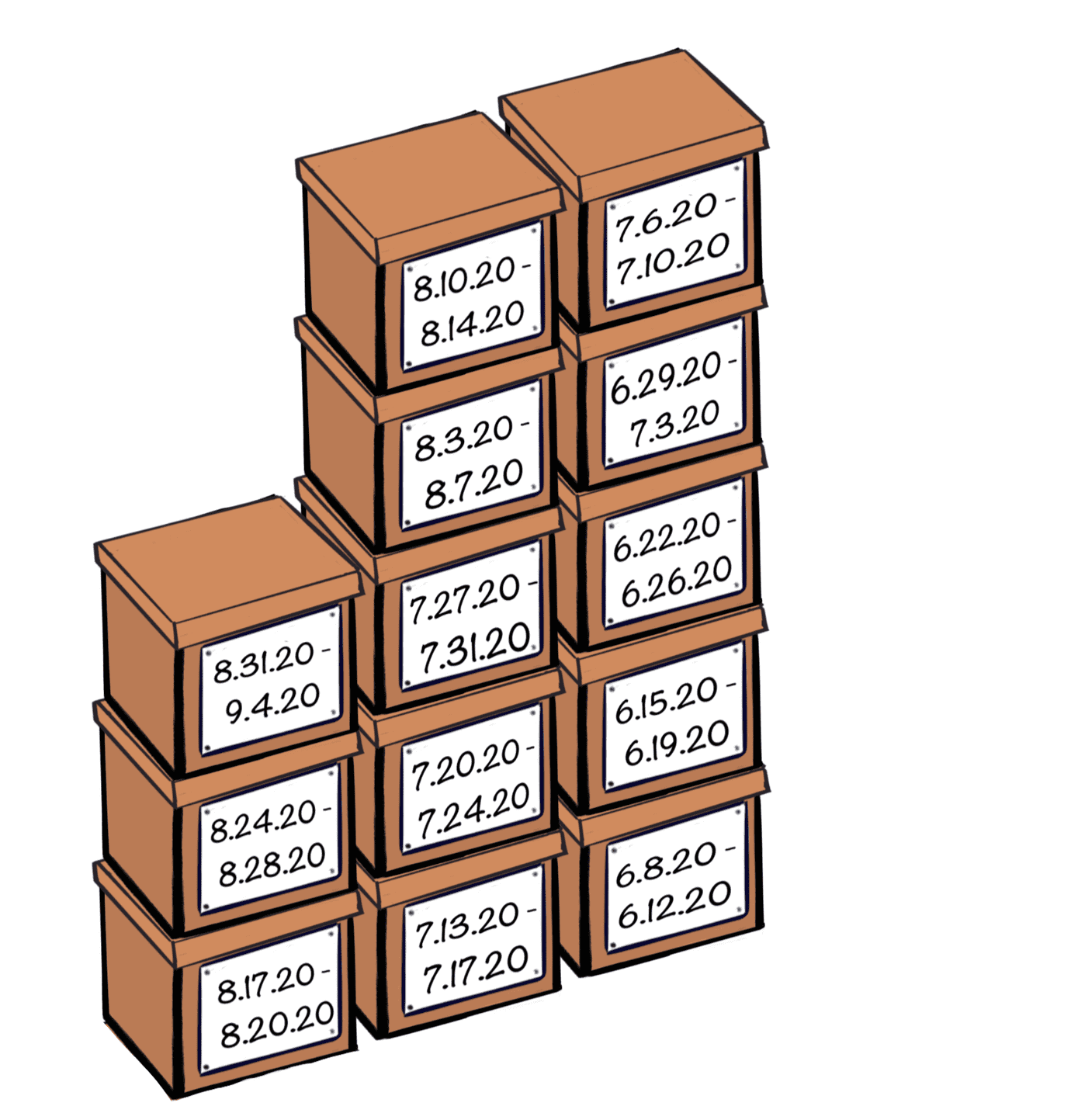 three stacks of cardboard boxes, each labeled with a range of dates